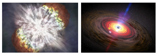 Left: The brightest Supernova, SN 2006gy, ever recorded (NASA photo). Right: Artist concept of matter swirling around a black hole. (NASA/Dana Berry/SkyWorks Digital)