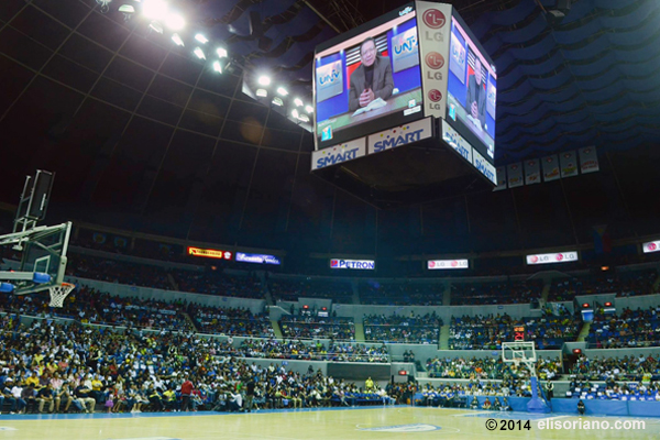 Bro. Eliseo Soriano welcomes the participants of UNTV Cup Season 2 at the Smart-Araneta Coliseum on February 11, 2014.