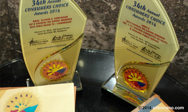 The trophies are acknowledgement of Bro. Eli and UNTV's excellence in providing positive contribution to the country. The awarding ceremony took place at AFP Theater, Quezon City on February 27, 2014. (Photo by Prince Maverick Medina Marquez, Photoville International)