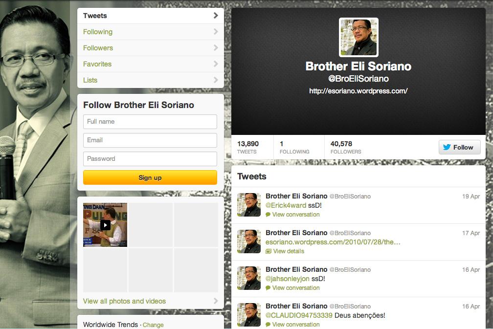 Bro. Eli Soriano on Twitter